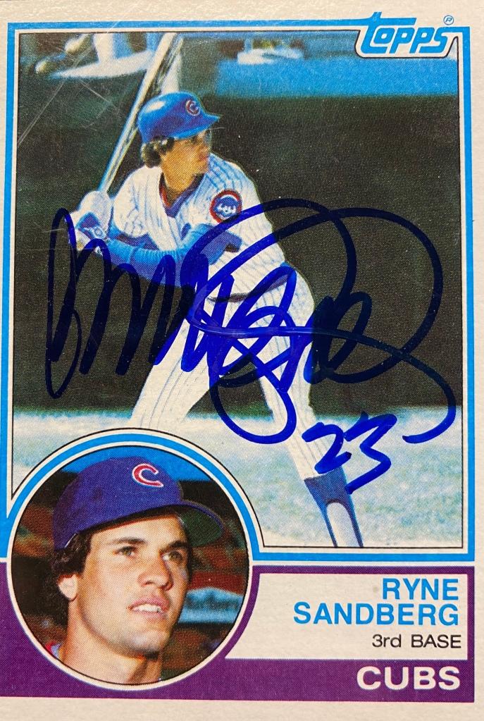 Ryne Sandberg autographed signed 1983 Topps rookie card