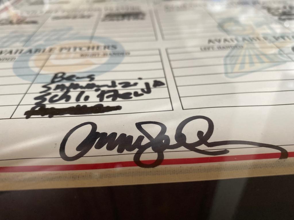 Ryne Sanberg signed, game used minor league baseball lineup card.